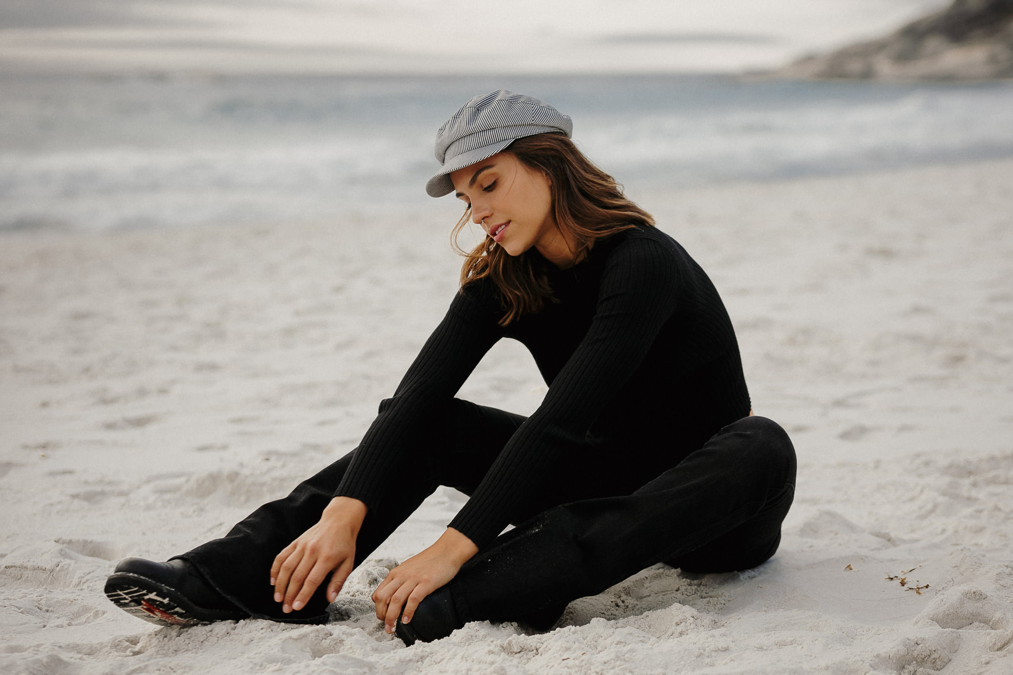 Portrait Shoot with Janaina looking like Emma Watson at Clifton Beach, Cape Town. photo by Farina Deutschmann